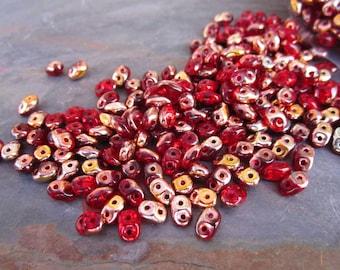 Superduo Metallic Red Copper Czech Glass Seed Beads 10 grams