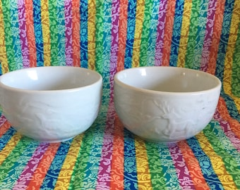 Two Celadon Tea/Rice Bowls with Nature Scene