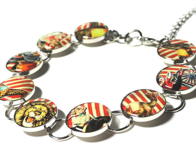 Carnival Bracelet, Circus Bracelet, Vintage Circus, Under the BIG Top, Resin Jewelry, Handmade Jewelry, Resin Bracelet, Circus Elephant Lion