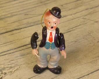 Vintage Charlie Chaplin Ornament, Old Plastic Figurine, Silent Film, 1920's Movie Memoribilia, Articulated Movie Star, Bowler + Cane, Tramp