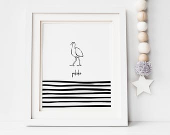 Pukeko illustration, kids room decor, nursery art, monochrome, New Zealand, digital print, printable, hand drawn