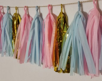 SHIPPED NEXT DAY, 20 Tassel Gender Reveal Baby Blue and Baby Pink Tissue Paper Garland, Baby Shower Decorations, It's A Girl, It's A Boy