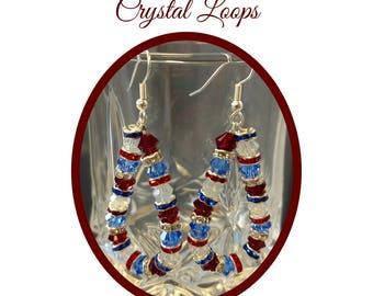 Red White and Blue Swarovski Crystal Loop Earrings, Patriotic Earrings, July 4th Earrings