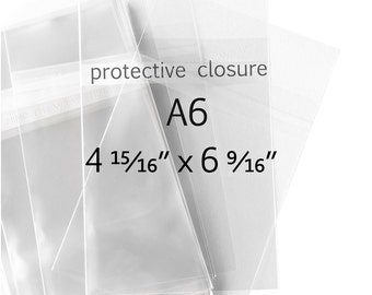 100 - A6 size Clear Bags - 1.6 mil Polypropylene - 4-15/16 x 6-9/16 inches - Protective Closure - Fits Card with Envelope