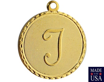 Gold Plated Letter T Initial Charm Drop with Loop (1) chr215T
