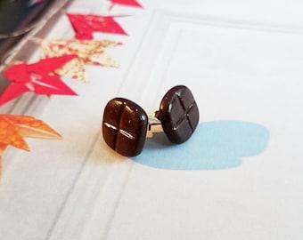 Dark chocolate bar square Brown earrings
