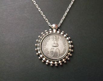 India 50 Paise Coin Necklace India  Coin Pendant in Pendant Tray-