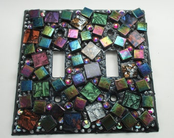 Mosaic Mixed Media Switch Plate Double Toggle - Mosaic Switch Plate Cover Multi Colored Funky Mosaic Glass Mosaic Art Switch Plate Handmade