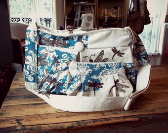 Extra Deep Diaper Bag Set- Matching Wristlet  - 6 Pockets - Zippered Top - Key Fob