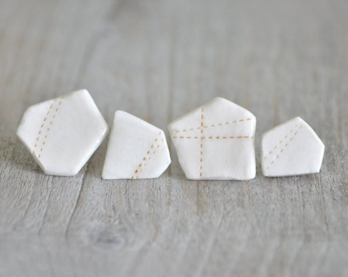 Pentagon Porcelain Stud Earrings In Ivory And Brown, One Of A Kind Porcelain Stud Earrings, Handmade In The UK