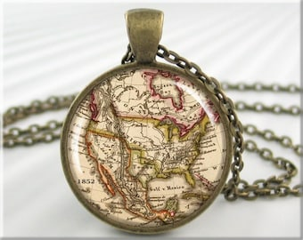 United States Map Pendant, Resin Charm, North American Map Jewelry, Picture Necklace, Gift Under 20, Map Charm, Gift For Teacher 209RB