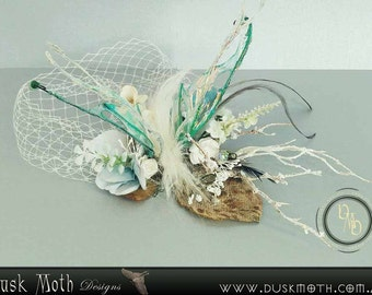 Large white & ice blue/green 'snow' moth faerie clip - fariy, pixie, fantasy, cosplay, insect, wings