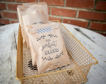 20 Bags // The Perfect Blend Craft Paper Bag // Coffee Favor Bag // Wedding Favor Bag