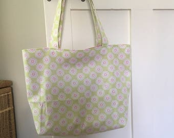 Daisy print fabric bag, green and pink flowers, tote bag, shopping bag, best friend gift, modern print, linen bag, shoulder bag, everyday