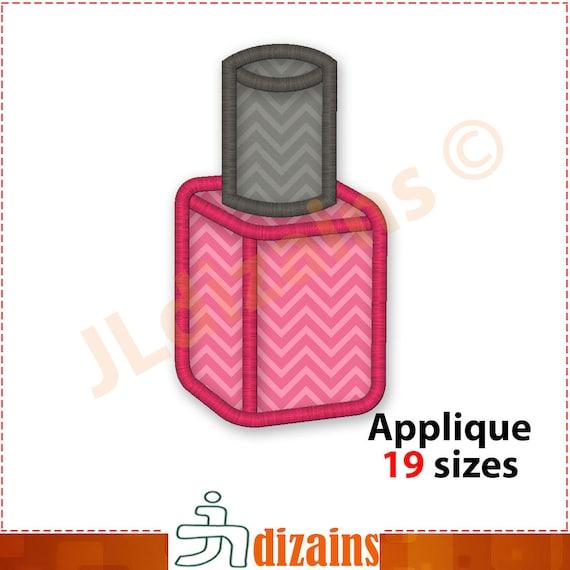 Nail Polish Applique Embroidery Design. Nail polish bottle ...