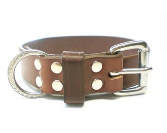 "1-1/4"" Nickel Free Rich Brown Chahin Bridle Leather Dog Collar with Stainless Steel Hardware and Leather Keeper"