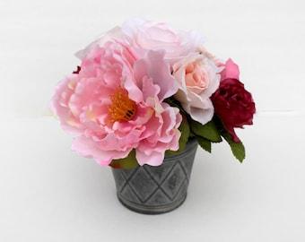 Small Peony arrangement, Spring table Centerpiece, Home Decor, silk flower arrangement, summer flowers, wedding, gift for Mom