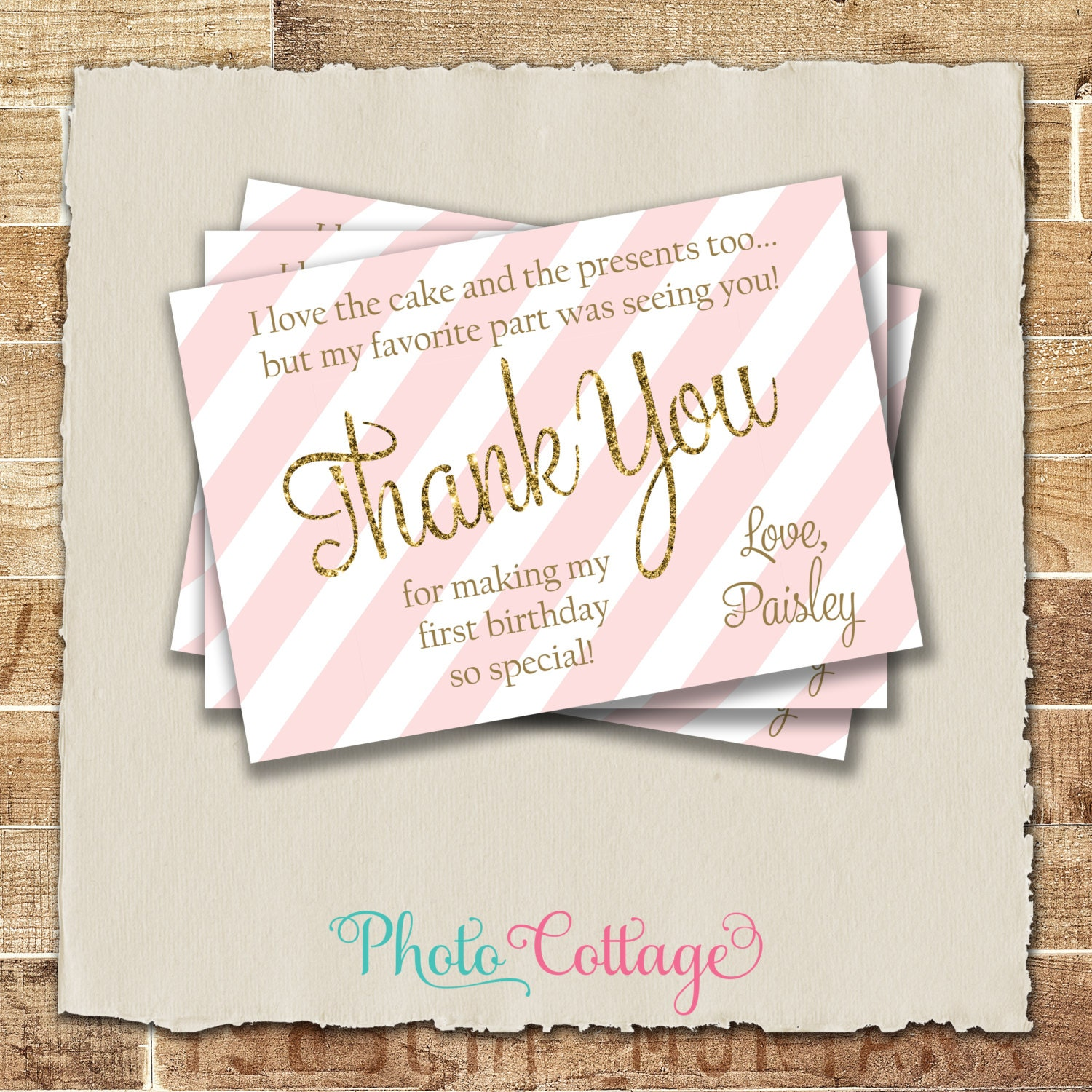 pink and gold thank you cards first birthday thank you card
