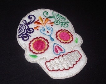 Day of the Dead, Sugar Skull EMBROIDERED patch 7