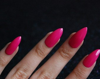 24 stiletto nails press on nails glue on nails pointy barbie pink stiletto nails set of 20 hot pink nails pointy nails solutioingenieria Gallery