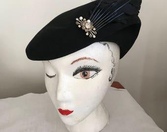 Felt Tilt Hat Tilt Hat with Feather Detailing Black Felt with Black Feathers Starlet Style Vintage Hat Glenover Modified Beret with Feathers