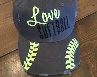 Love Softball - Glitter Baseball Cap