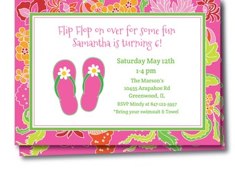 Preppy Flip Flop Pool Party Invitation, Pool Party Invitation, Preppy Flip Flop Party Invitation, Instant Download, Edit Right Now, Templett