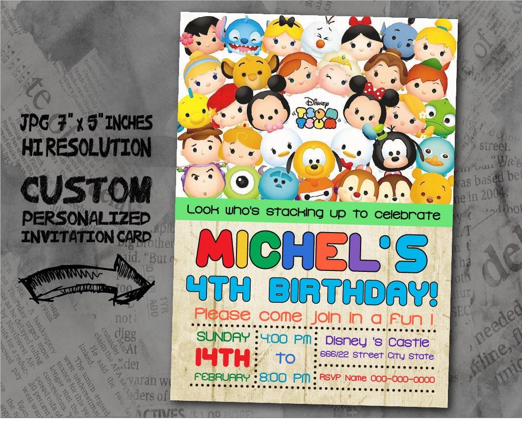 Tsum Tsum Birthday Invitation card size 5x7
