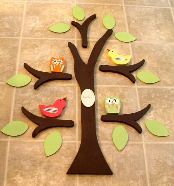 wooden tree tree wall art nursery decor owl nursery room