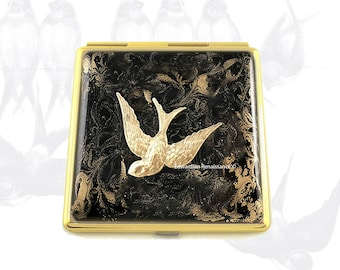 Swallow Compact Mirror Inlaid in Hand Painted Black with Gold Swirl Enamel Art Nouveau Inspired with Color and Personalized Options