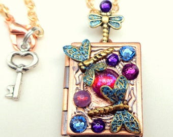 Mexican Opal, Dragon's Breath Opal Glass, Swarovski Crystals, Dragonfly Locket Necklace, Valentine, Sweetheart's Gift, Mother's Day