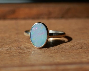 Australian Opal Doublet Ring, Sterling Silver Ring -- US Size 5.75