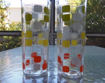 Vintage Checkered Tall Glasses
