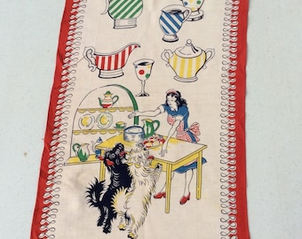 Vintage Towel Maid Gives Treats to Monster Scotty Dogs Retro Kitchen Tea Towels