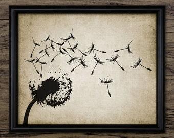 Dandelion Print - Dandelion Illustration - Dandelion Plant - Botanical - Digital Art - Printable Art - Single Print #16 - INSTANT DOWNLOAD