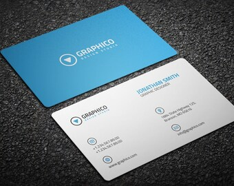 Clean Corporate Business Card Design Template - Photoshop Templates - Modern, Clean, Corporate - Instant Download - v7