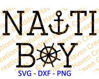 Nauti Boy, SVG, PNG, DXF, Vinyl T-Shirt Design, Decal, Silhoutte Studio, Cricut, Cameo, Cut File, Iron on Design, Carnival Disney Cruise