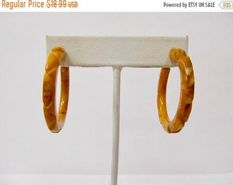 ON SALE Vintage Carved Variegated Mustard Yellow Plastic Hoop Earrings Item K # 215