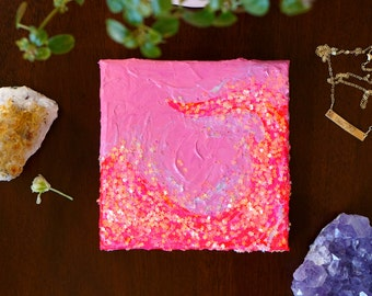 """Fluorescent Pink Abstract Glitter Wall Art, Original Acrylic Painting on Canvas, Colorful Wall Art Bright Pink Decor Gifts for Her 5""""x5"""""""