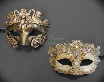 Masquerade Mask Couple, His & Hers Masquerade Mask, Ivory Lace Mask Women, Golden Bronze Masquerade Mask Men