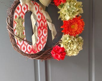 Custom letter O wreath.