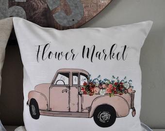 SALE, Floral Market Pillow Cover, truck Pillow Cover, Spring pillow cover, Summer Pillow Cover, 18x18