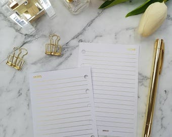 Pocket (PM) Small GOLD FOIL Notes planner inserts paper | Physical Planner refills for Kikki k, Filofax, Louis Vuitton agenda