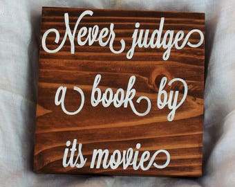 "Literary Gifts, ""Never Judge a Book by its Movie"" Book Lover Gift, Bookworm Gifts, Librarian Gifts, Teacher Gifts"