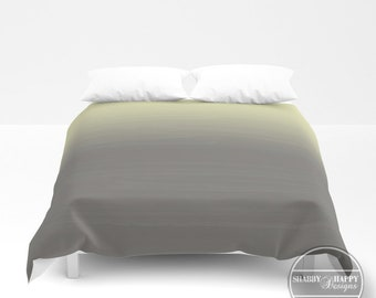 Yellow to Gray Gradient Ombre Painted Appearance / Duvet Cover or Comforter Bedding Art  /2nd ships FREE! / Twin, XL Twin Full Queen King