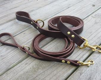 Leather Leash, Bridle Leather Leash, Heavy Duty Leather Dog Leash, Pet Leash