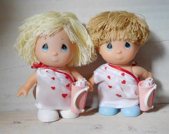 SALE - Set of Two Vintage Precious Moments Valentines Day Cupid Collectible Dolls
