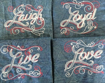 4 Denim Napkins Words To Live By REDUCED