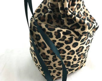 Dice game bag animal print drawstring storage bag with beaded drawstring