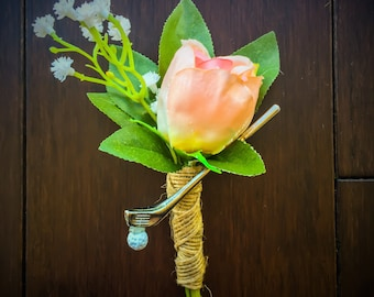 Golf Boutonnieres (DIY or Assembled) with Silk rose, leaves, mini golf club and ball, and twine for Golf themed or Country Club Wedding